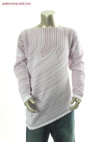 Ringed asymmetric jersey children's pullover / Geringelter asymmetrischer Rechts-Links Kinderpullover