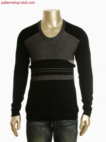 Stoll-multi gauges&reg Fully Fashion deep round neck pullover in layers technique with pocket in integral knitting