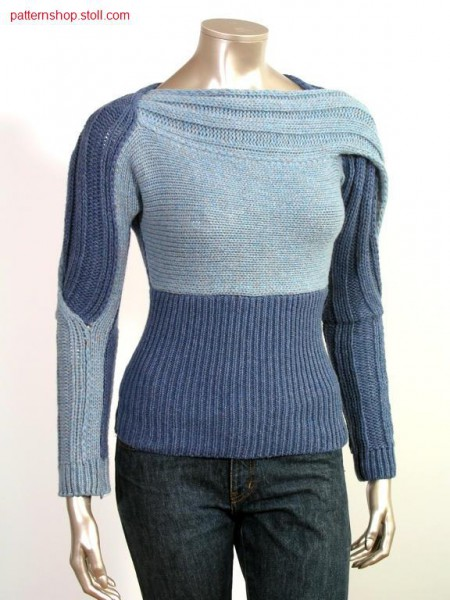FF-Intarsia pullover across to stitch direction / FF-IntarsiaPullover quer zur Maschenrichtung