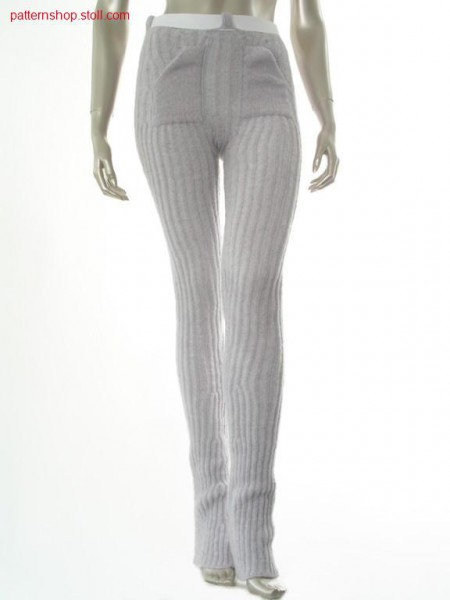 Flared trousers with 2-colour 2x2 tuck stitch ribs / Schlaghose mit 2-farbigen 2x2 Fangrippen