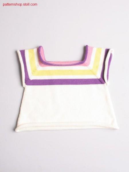 Ringed jersey short-sleeved baby's pullover / Geringelter Rechts-Links Baby-Kurzarmpullover