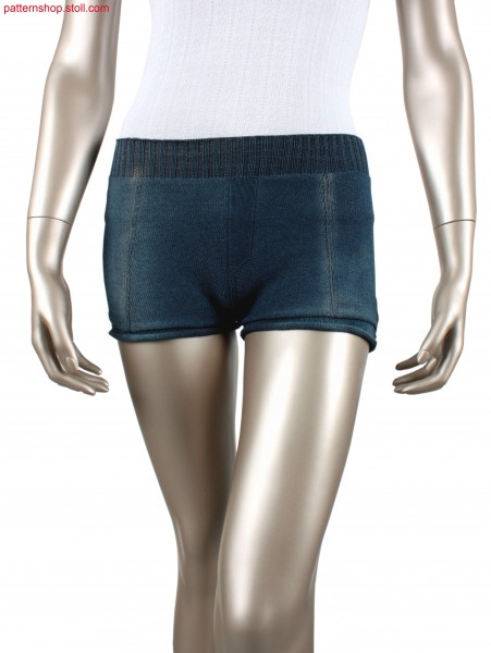 Jersey hot pants with imitated seams / Rechts-Links Hotpants mit imitierten N