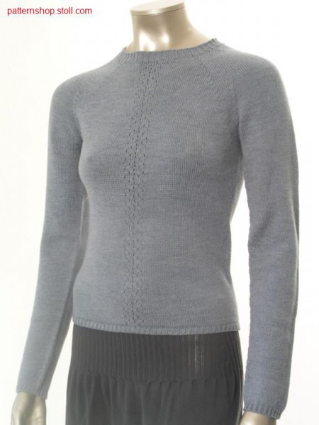 Fitted jersey raglan pullover with pointelle / Taillierter Rechts-Links Raglanpullover mit Petinet