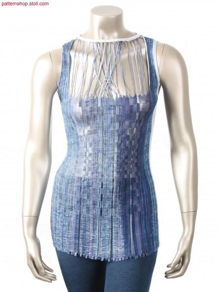 Printed Intarsia rib dress with 28 (30) yarn carriers / Bedrucktes Intarsia Kleid mit Rippen mit 28 (30) Fadenf