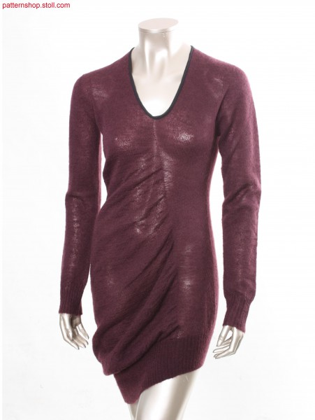 Fitted jersey dress with asymmetrical shaping / Tailliertes Rechts-Links Kleid mit asymmetrischer Formgebung