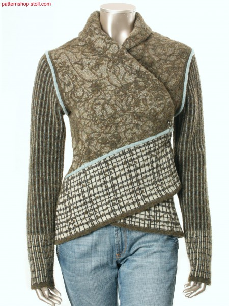 Wrap cardigan with shawl collar / Wickelstrickjacke mit Schalkragen