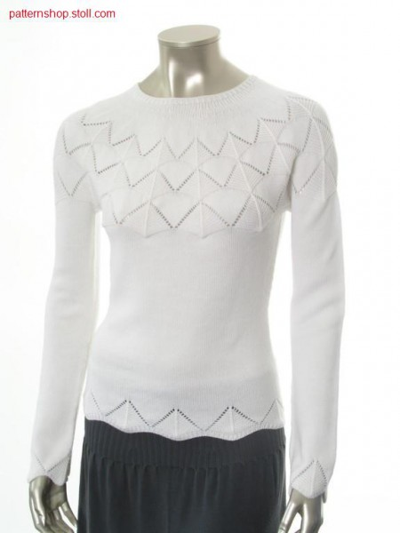 Fitted fair isle pullover with purl-pointelle yoke / Taillierter Fair Isle Pullover mit Links-Links-Petinet Passe