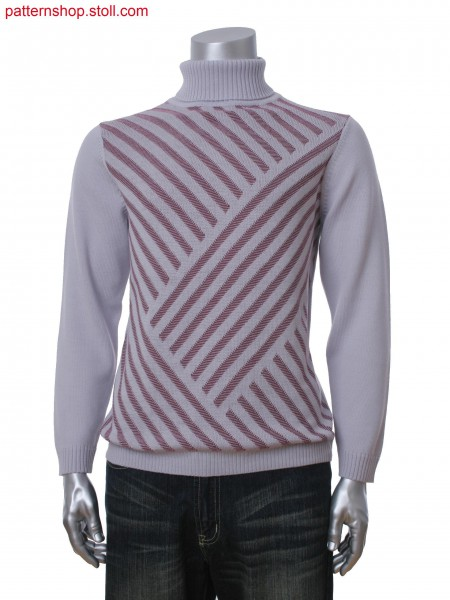 Fully Fashion men's turtle neck pullover with jacquard pattern