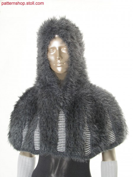 Hooded reversible cape in fake fur with floated fancy yarn /Kapuzen-Wendeumhang in Felloptik aus geflottetem Effektgarn
