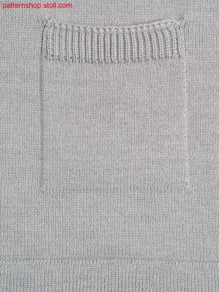 Jersey knitted fabric in 1x1 technique with patch pocket /Rechts-Links Gestrick in 1x1 Technik mit aufgesetzter Tasche
