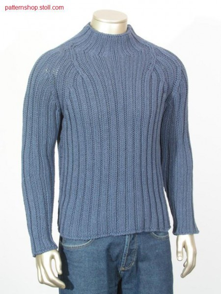 Rib pullover with initial row in manual work look / Ripp-Pullover mit Anfangsreihe in Handarbeitsoptik