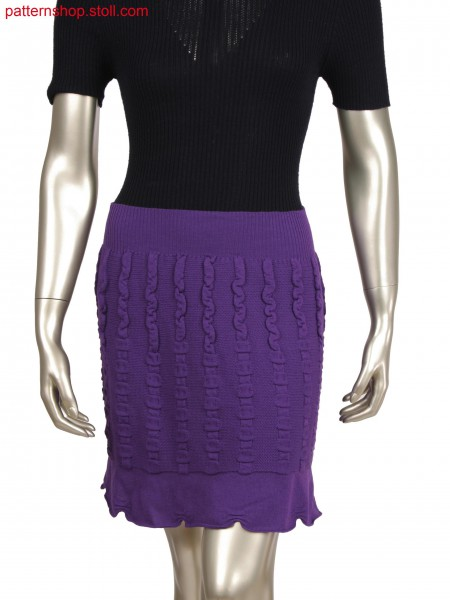 Fully Fashion skirt with scallop bottom by holding stitch and fair isle, transfer structure in different directions