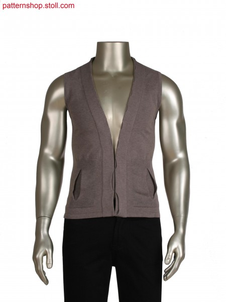 Stoll-applications&reg for pleat pockets Fully Fashion waistcoat with slitted placket and different stitch optics