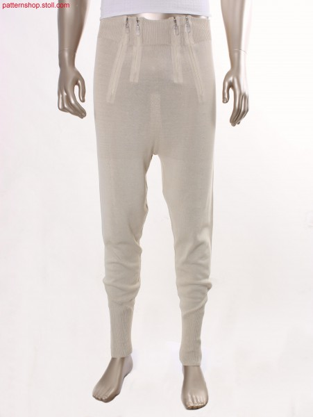 Jersey trousers with bonded zippers / Rechts-Links Hose mit eingeklebten Rei
