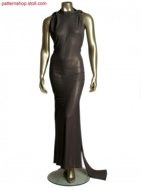 Fully Fashion evening dress with full rib and transfer structure and one body seam