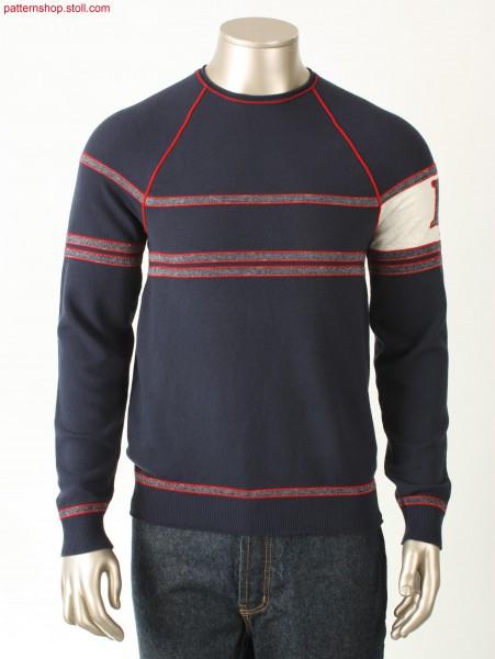 Striped Fully Fashion raglan college style pullover / Geringelter Fully Fashion College-Stil Raglanpullover