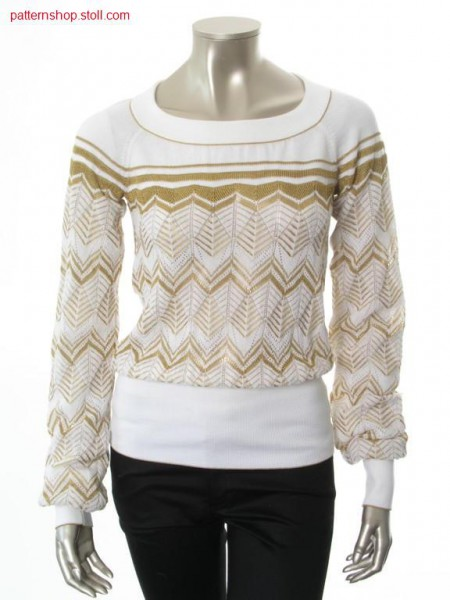 Ringed FF-raglan pullover with purl-pointelle structure / Geringelter FF-Raglanpullover mit Links-Links-Petinetstruktur