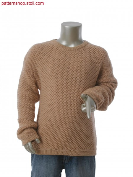 Fully Fashion pullover with 2-color tuck structure in 1x1 technique
