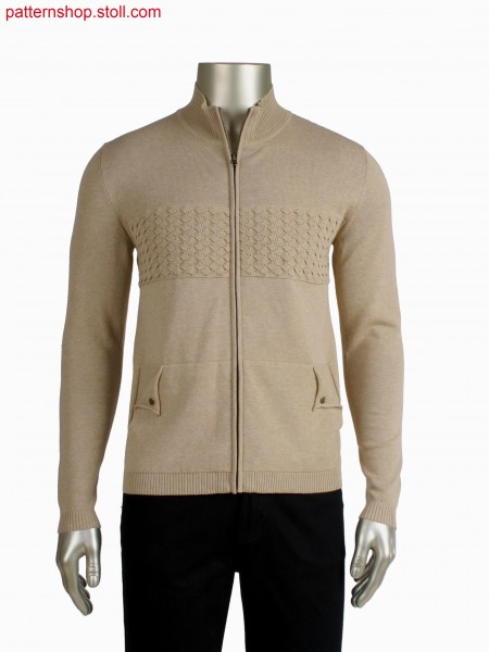 Fully Fashion jacket, diamond pattern with one side open integrated pocket