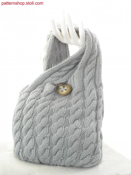 Hand-bag with 2x3 cables and knitted / Handtasche mit 2x3 Z