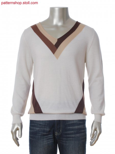Fully Fashion V-neck pullover in 3-color intarsia with floatconnection