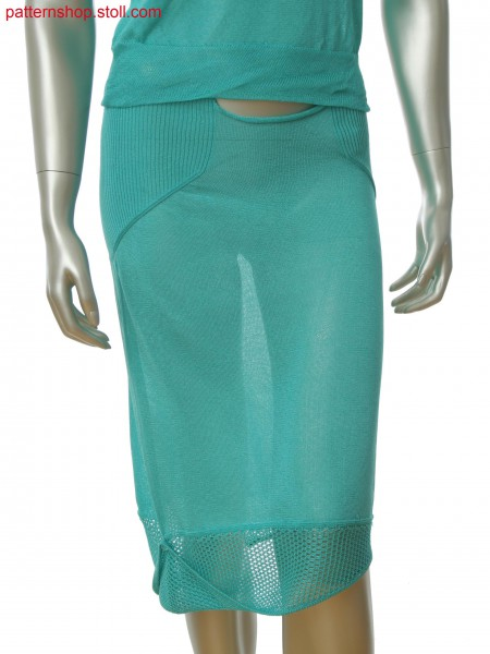 Fully Fashion skirt with one side seam, net and rib structure