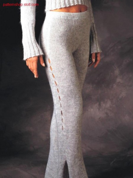 Trousers with slits.