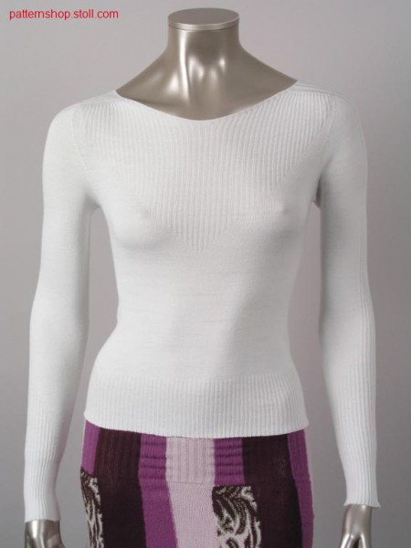 Fitted 2x2-rib-jersey pullover / Taillierter 2x2-Rippe-Rechts-Links Pullover