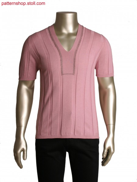 Fully Fashion T-shirt in broad rib structure,integrated neckline with fringes in intarsia