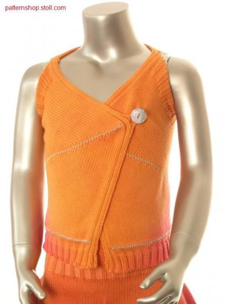 Striped jersey children's waistcoat in tie-dye technique / Gestreifte Rechts-Links Kinderweste in Bandana-Technik