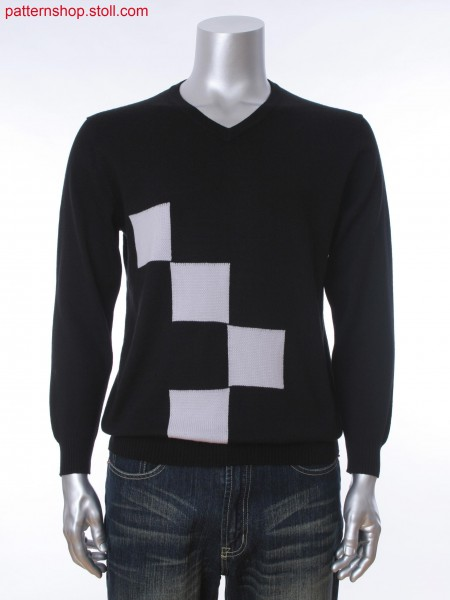 Fully Fashion men's V-neck pullover with 2-color intarsia