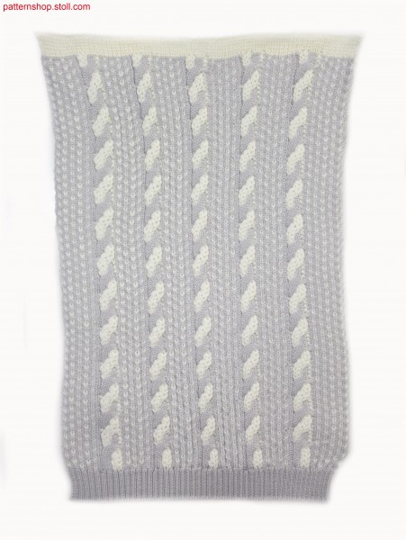 Knitted fabric with 2-colour float jacquard-cable structure / Gestrick mit 2-farbiger Flott-Jacquard-Zopfstrukur