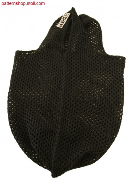 Stoll-knit and wear&reg Bag with pointelle structure and integral knitted tag in 2-color cross tubular jacquard