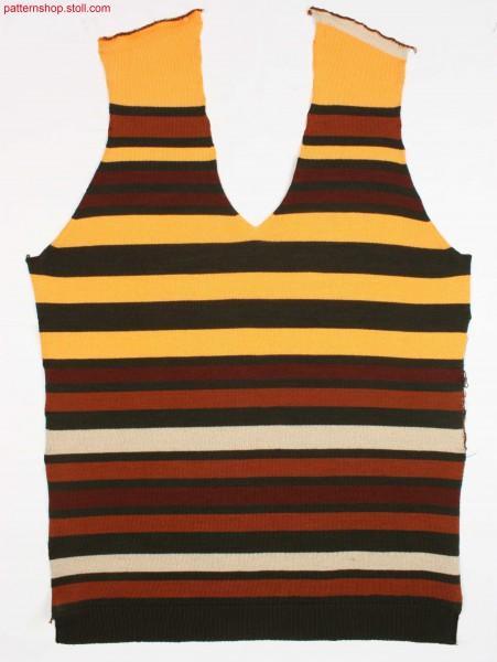 Striped jersey front part with border-thread fixation / Geringeltes Rechts-Links Vorderteil mit Faden-Randfixierung