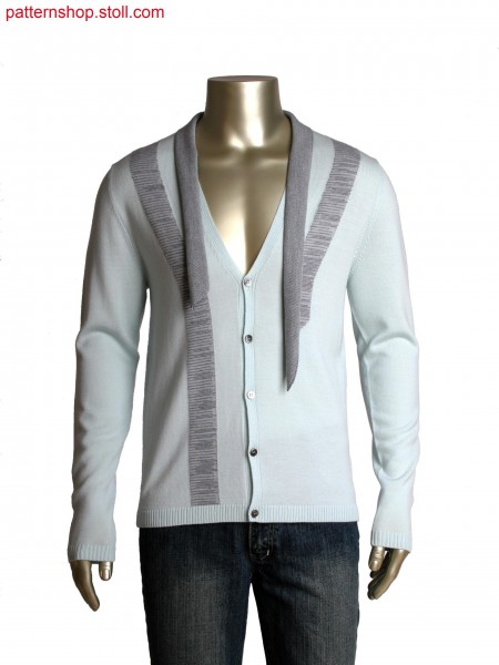 Fully Fashion cardigan with attached collar, intarsia stripe with plated knitting