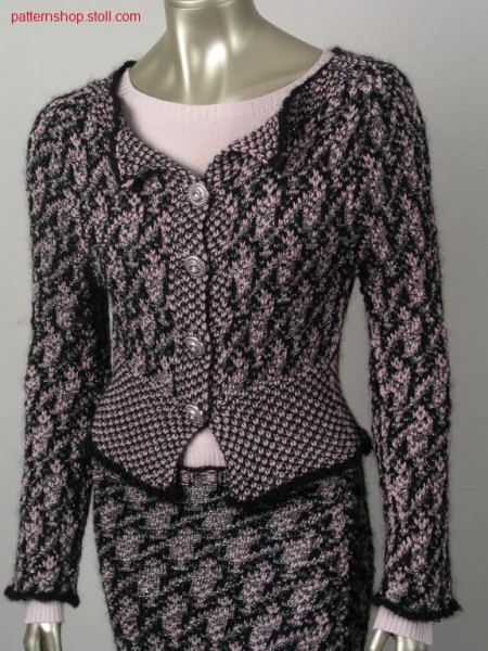 Jacquard cardigan with linked-off 2x2 collar / Jacquard Strickjacke mit abgeketteltem 2x2 Kragen