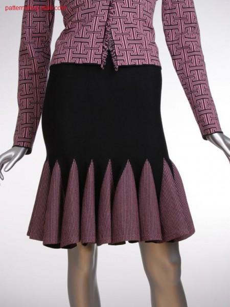 Jersey Godet skirt with knitted on hem / Rechts-Links Godet Rock mit angestricktem Saum