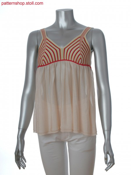 Fully Fashion sleeveless top in transversal knitted with stripes in gore technique