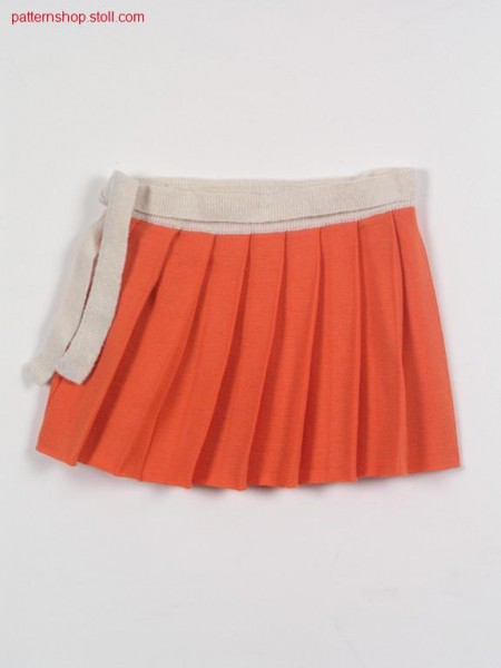 FF-intarsia girl's wrapover pleated skirt / FF-Intarsia M