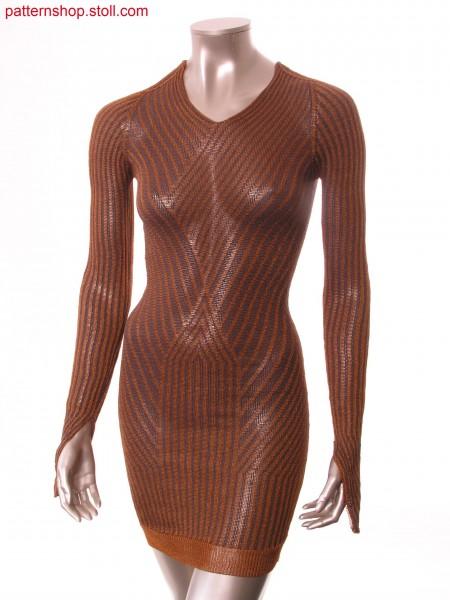 Fitted dress with ringed float jacquard / Tailliertes Kleid mit geringeltem Flottjacquard