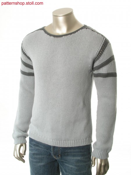 Jersey pullover with gored and ringed sleeve head / Rechts-Links Pullover mit gespickelter und geringelter