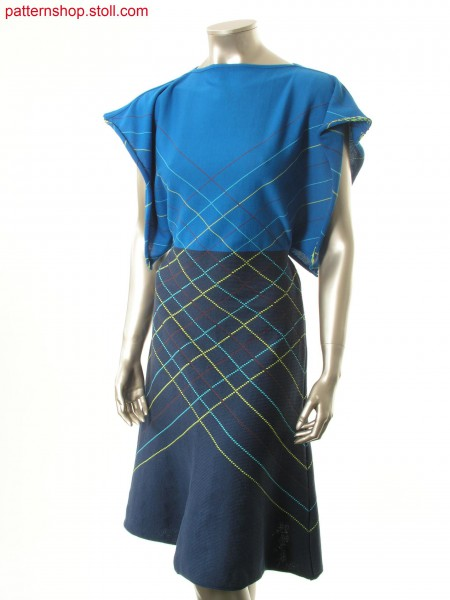 Dress with horizontally argyle intarsia design / Kleid mit quer laufendem Argyle Intarsiadesign