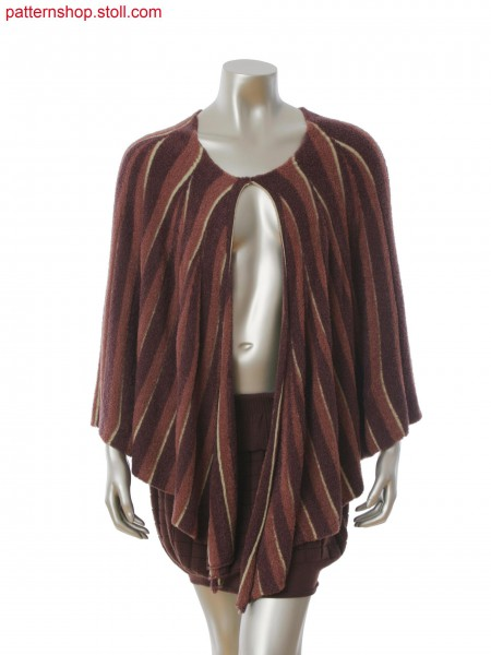 Fully Fashion cape with 3-color stripes in gore technique