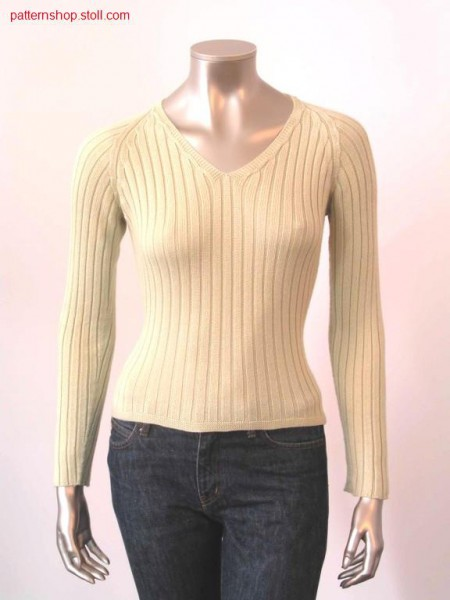 Fitted raglan pullover in 4x2 rib / Taillierter Raglanpullover in 4x2 Rippe