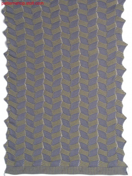 Plated jersey pattern with pointelle structure / PlattiertesRechts-Links Muster mit Petinetstruktur