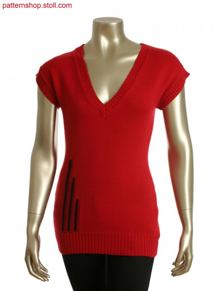 Stoll-multi gauges&reg Fully Fashion sleeveless V-neck intarsia pullover with back slit fancy stitch