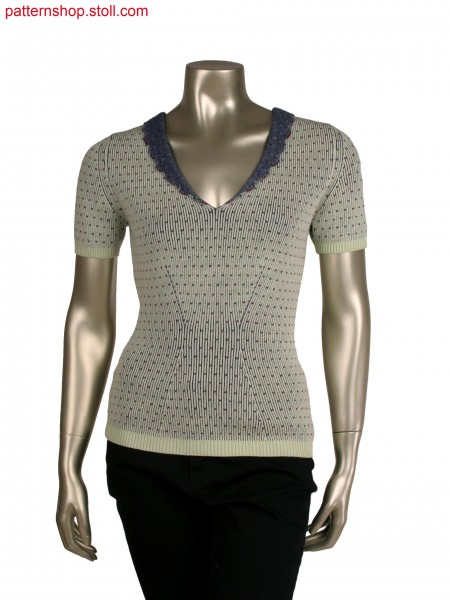 Stoll-multi gauges&reg, Fully Fashion short sleeve top, 3 colour half cardigan structure in 12gg optic