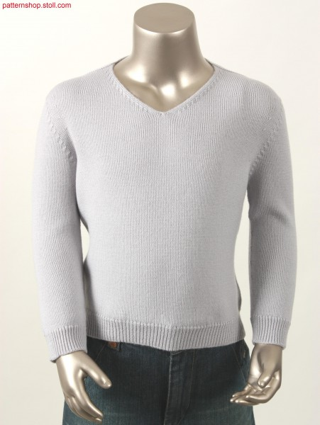 Jersey pullover with French shoulder and V-neck / Rechts-Links Pullover mit Franz