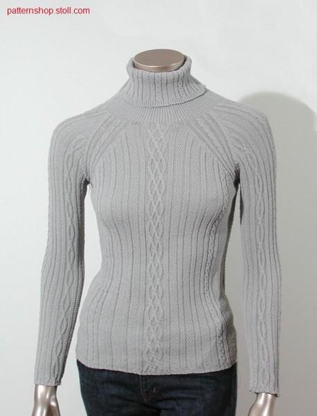 Rib raglan pullover with cables / Ripp Raglanpullover mit Z