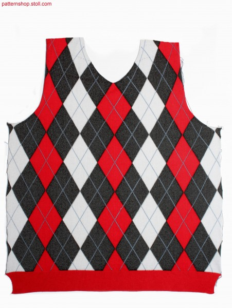 Argyle intarsia pattern with 29(30) intarsia yarn carriers/ Argyle Intarsiamuster mit 29(30) Intarsia Fadenf